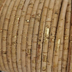 1 m/39 in of natural cork cord with gold of 3 mm REF-28