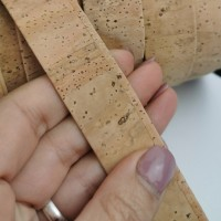 Natural Flat cork Leather cord - 25mm x 2mm (European product) - REF-297