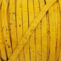 1 meter/ 39 in - Flat cork Leather cord yellow - 5mm x 2mm (European product) - REF-439
