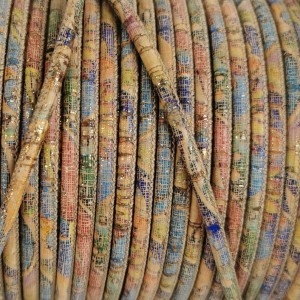 1 meter - 3 mm Genuine Cork Cord with flowers pattern (European product) ref-457