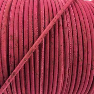 1 m/39 in of fuchsia cork cord of 3 mm REF-459