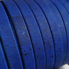 1 Meter Portuguese Cork 10x2mm Flat Leather Cord, Royal Blue color REF-465