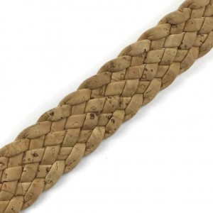 Cork Cording - 15mm flat cork braid Natural- Portuguese cork 1 Meter - REF-476