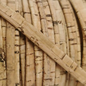 1 meter/ 39 in - Flat cork Leather cord natural rustic- 5mm x 2mm REF-49