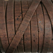 1 Meter Portuguese Cork 10x2mm Flat Leather Cord, Brown REF-50