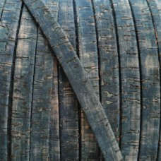 1 Meter Portuguese Cork 10x2mm Flat Leather Cord, Jeans Pattern REF-515