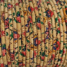 1 m/39 in of flowers print on natural cork cord of 3 mm REF-529