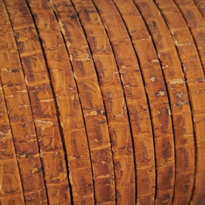 1 Meter Portuguese Cork 10x2mm Flat Leather Cord, Crocodile REF-531