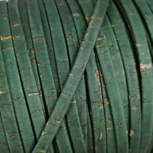 1 meter/ 39 in - Flat cork Leather cord emeralde - 5mm x 2mm (European product) - REF-539