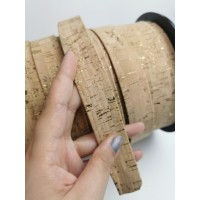 Natural with golden flecks Flat cork Leather cord - 25mm x 2mm (European product) - REF-545