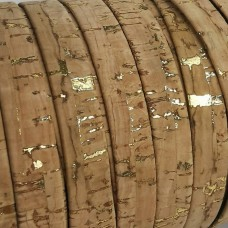 1 Meter Portuguese Cork 10x2mm Flat Leather Cord, Natural with golden flecks REF-55