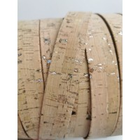 Natural with silver flecks Flat cork Leather cord - 25mm x 2mm (European product) - REF-563