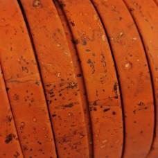 1 Meter Portuguese Cork 10x2mm Flat Leather Cord, Orange REF-569