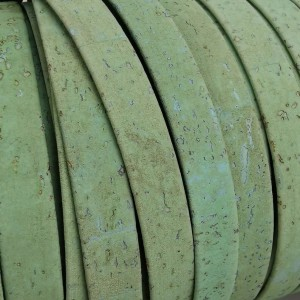 1 Meter Portuguese Cork 10x2mm Flat Leather Cord, Green Mint REF-66
