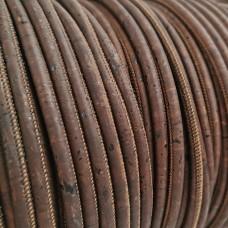 1 meter - 5 mm Genuine Cork Cord Brown color - REF-8