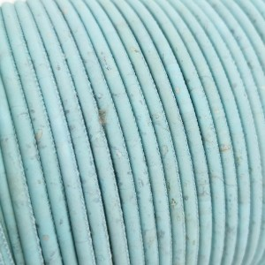 1m / 39 in - 3 mm Cork Cord baby blue REF-91