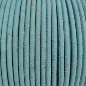 1m / 39 in - 3 mm Cork Cord light blue REF-91