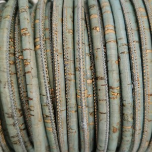 1 Meter / 39 in Portuguese Cork 5mm Leather Cord color teal - REF-92