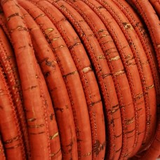 1 Meter / 39 in Portuguese Cork 5mm Leather Cord color Coral - REF-94