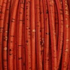 1m / 39 in - 3 mm Genuine Cork Cord Red Rustic  (European product) REF-95