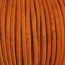 1 Meter / 39 in Portuguese Cork 5mm Leather Cord color orange - REF-96