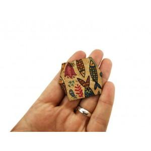 100 Cork Fabric Scraps Diamond Shape 5x4.5cm