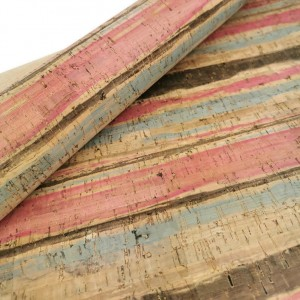 "Cork leather, green product, Portuguese cork fabric SMA stripes Printed pattern 68x50cm / 27.50""x20"""