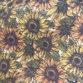 Cork leather - Portuguese cork fabric sunflowers printed pattern on natural cork