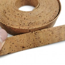 Tabac Flat cork Leather cord - 25mm x 2mm (European product) - REF-