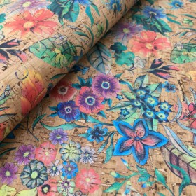 "Tropical Flowers cork leather 68x50cm / 27.50""x20"", (SMA433) - Portuguese cork fabric"