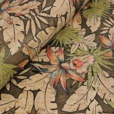 "Cork leather, green product, Portuguese cork fabric, Tropical printed pattern 68x50cm / 27.50""x20"","
